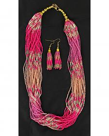 Blazin Roxx Beaded Necklace & Earrings Set