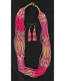 Blazin Roxx Beaded Necklace & Earrings Set
