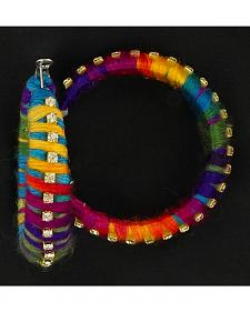 Blazin Roxx Colorful Woven Yarn Hoop Earrings