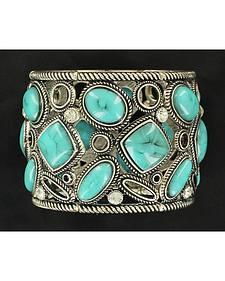 Blazin Roxx Turquoise Stone Burnished Bracelet