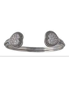 Montana Silversmiths Double Pave Heart Cuff Bracelet