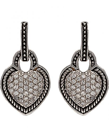 Montana Silversmtihs Beaded Pave Heart Earrings