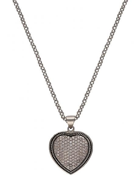 Montana Silversmiths Beaded Pave Heart Necklace
