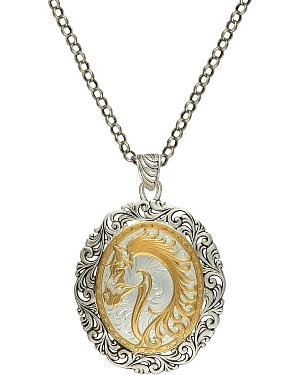 Montana Silversmiths 2-Tone Fancy Horsehead Necklace