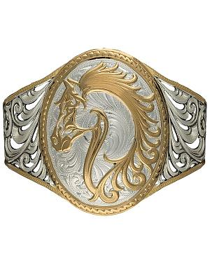Montana Silversmiths 2-Tone Open Filgree Horsehead Cuff Bracelet
