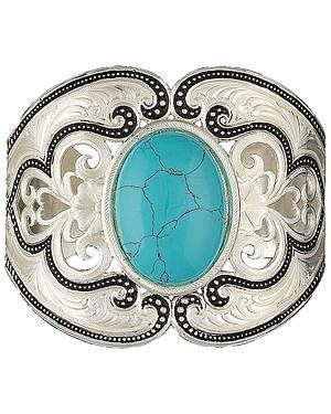 Montana Silversmiths Silver Turquoise Oval Stone Bracelet