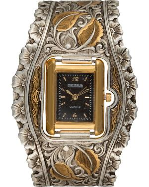 Montana Silversmiths Fancy Filigree & Leaves Cuff Watch