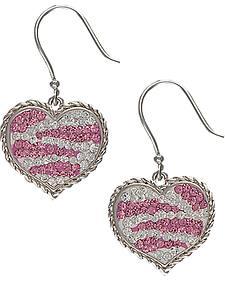 Montana Silversmiths Pink Rhinestone Zebra Heart Earrings