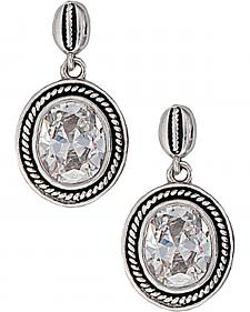 Montana Silversmiths Roped Oval Cubic Zirconia Earrings