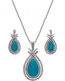Montana Silversmiths Rope & Bling Turquoise Teardrop Necklace Set