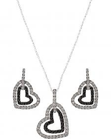 Montana Silversmiths Double Heart Bling Necklace Set
