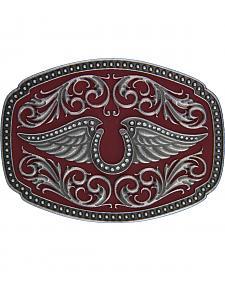 Rock 47 by Montana Silversmiths Winged Horsehoe Belt Buckle