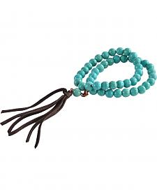 2 Queen B's Native Double Strand Leather Tassel Stretch Bracelet