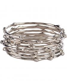 Blazin Roxx Set of 8 Silver Rhinestone Orbit Bangles