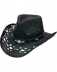 Silverado Evelyn Black Twisted Toyo Straw Bend-a-Brim Hat