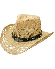 Silverado Fancy Beaded Vented Crown Toyo Straw Hat