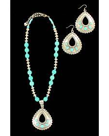 Blazin Roxx Teardrop Turquoise Necklace & Earrings Set