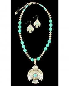 Blazin Roxx Women's Thunderbird Necklace & Earrings Set