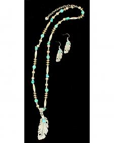 Blazin Roxx Feather Turquoise Necklace & Earrings Set