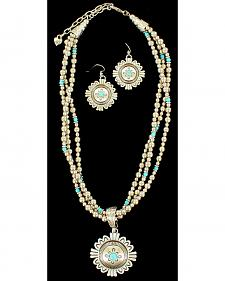 Blazin Roxx Three Strand Medallion Turquoise Necklace & Earrings Set