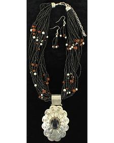 Blazin Roxx Bead Flower Necklace and Earring Set