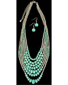 Blazin Roxx Beaded Turquoise Necklace & Earrings Set