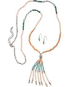 Blazin Roxx Beaded Fringe Necklace & Earrings Set
