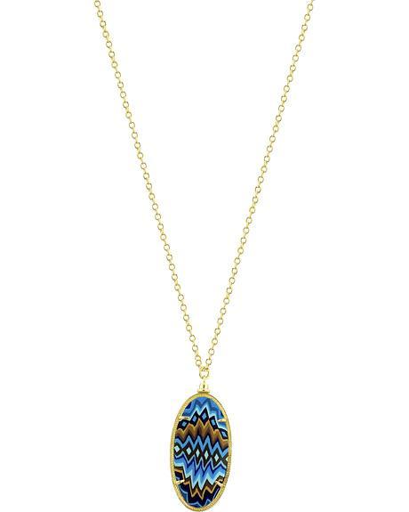 Jilzarah Aztec Blue Gold Frame Pendant Necklace