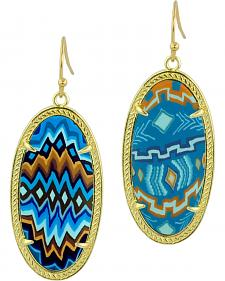 Jilzarah Aztec Blue Gold Frame Earrings