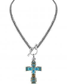Jilzarah Aztec Blue Two-Length Cross Necklace
