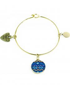 Jilzarah Aztec Blue Gold Bangle
