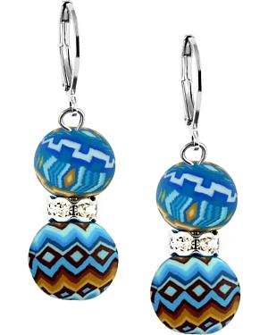 Jilzarah Aztec Blue Crystal Earrings