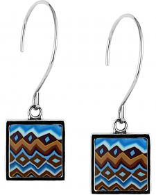 Jilzarah Aztec Blue Square Hoop Earrings