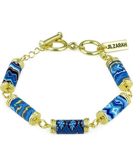 Jilzarah Aztec Blue Tube Bead Gold Bracelet