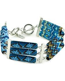 Jilzarah Aztec Blue Tri-Tube Bracelet