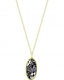 Jilzarah Black & White Gold Frame Pendant Necklace