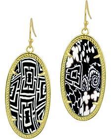 Jilzarah Black & White Gold Frame Earrings