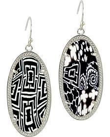 Jilzarah Black & White Silver Frame Earrings