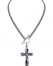 Jilzarah Black & White Two-Length Cross Necklace