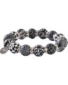 Jilzarah Black & White Silverball Bracelet