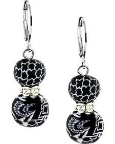 Jilzarah Black & White Crystal Earrings