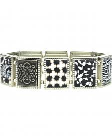 Jilzarah Black & White Square Stretch Bracelet