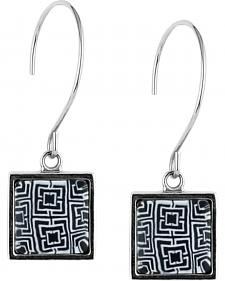 Jilzarah Black & White Square Hoop Earrings