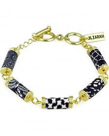 Jilzarah Black & White Tube Bead Gold Bracelet