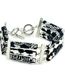 Jilzarah Black & White Tri-Tube Bracelet