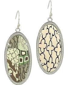Jilzarah Latte Silver Frame Earrings