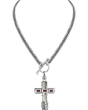 Jilzarah Latte Two-Length Cross Necklace