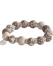 Jilzarah Latte Beaded Crystal Bracelet
