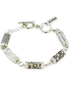 Jilzarah Latte Tube Bead Silver Bracelet