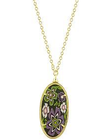 Jilzarah Prairie Gold Frame Pendant Necklace